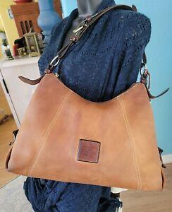 DOONEY & BOURKE 1975 Vintage Saddle Brown Leather Hobo Shoulder Bag Purse Large