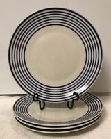Royal Norfolk Greenbrier Set/4 Cobalt Blue Strip Circled LG Porcelain Plates,