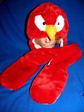 Fleece Lined Winter Plush Faux Fur Long Animal Red Bird Hat w/Scarf, Mittens