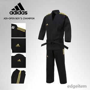 Adidas ADI-OPEN Dobok Boy's Champion Uniform Black Taekwondo Hapkido Karate TKD