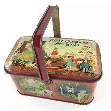 Vintage Tindeco Christmas Tin Candy Container Mother Goose 1920's Santa Clause