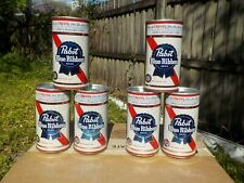 6 PACK OF PABST BLUE RIBBON AT NEWARK FLAT TOP OLD BEER CAN