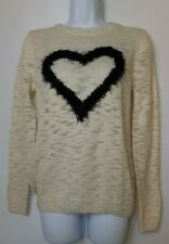 M&S Limited Edition Long Sleeve Round Neck Thin Knit Fluffy Love Heart UK 8 A360