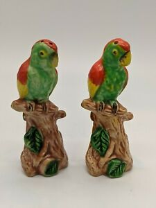 Vintage Salt And Pepper Shakers Parrot Macaw Red