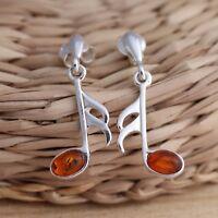 Cognac Baltic Amber 925 Sterling Silver Music Note Dangle Drop Earrings