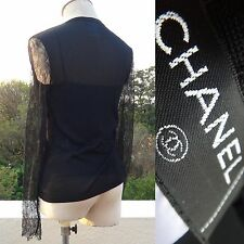Rare Vintage Chanel PARIS Black Spring Lace Stretchy Pewter Ring Twin Set 36/S-M