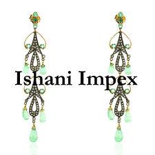 Handmade Natural Rose Cut Diamond & Green Quartz 925 Sterling Silver Earrings