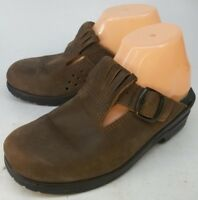 BRA SKO Wos Shoes EU 38 US 7.5 Brown Leather Clogs Slip-on Mules Sweden 5671