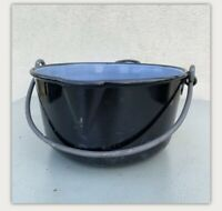 Vintage Heavy Metal Enamel Stew Pot Cauldron Camping Kitchenalia