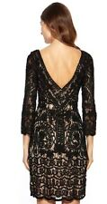 SUE WONG  Black Nude Sequin Beaded Embroidered Cocktail Evening Party Dress 0