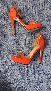 "Womens Asos Orange 6"" Stiletto Heels. size 9.CD,TV."