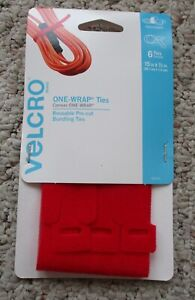 """Velcro One-Wrap #90476  Ties Red 15"""" x 1/2"""" Pack of 6 Rare-Out of Production"""