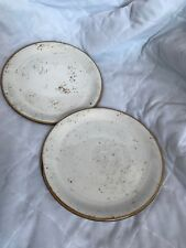 """Steelite England Craft Coupe White Brown Rustic Country Lunch plate 8""""  Lot"""
