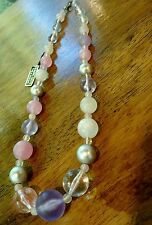 Vintage Hong Kong Genuine Lucite Lavender and Pink Necklace