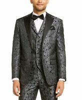 Tallia Mens Suit Jacket Black Charcoal Size Medium M Floral Dinner $350 #180