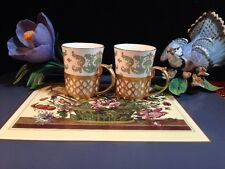 Set of 2 Crown Staffordshire, England China Espresso Cups with GoldMetal Holders