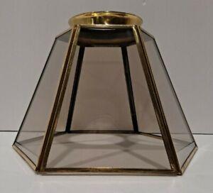 VTG Smokey Glass / Brass Lamp Shade Ceiling Fan 6-Sided BOHO COUNTRY