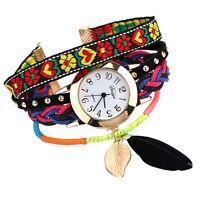 Women Vintage Boho Feather Braided Strap Wrap Rivet Sling Quartz Wrist Watches