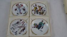 Norman Rockwell Four Seasons Miniature Collector's Plates Set 4 514 515 516 521