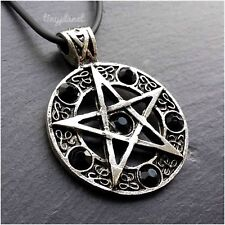 Black Pentacle Pentagram Necklace Pendant Gothic Wicca Pagan Druid Leather