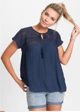 Rainbow Navy Crochet Lace Yoke Blouse Top Size 12 NEW