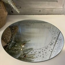 25cm Circle Mirror Plate with Star Border Christmas Candle Table Centrepiece