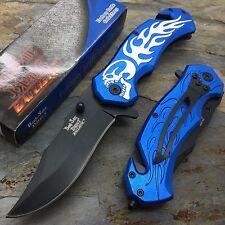 Dark Side Blades Ballistic Assisted Open Blue Handle w/ Skull Design Knife