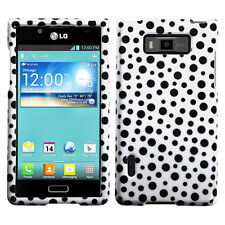 LG Optimus Showtime HARD Protector Case Snap On Phone Cover Black Mixed Dots
