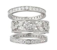 EPIPHANY PLATINUM STERLING SILVER DIAMONIQUE LACE DESIGN 3PC RING SET SIZE 8 QVC