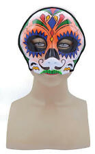Orange Skull Face Mask Circus Carnival Halloween Fancy Dress Accessory