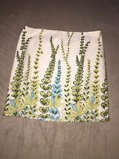 ANN TAYLOR LOFT Leaves 100% Cotton Floral Green Blue Off White A-line Skirt Sz 6
