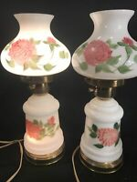 "💥2 VINTAGE GWTW 14"" Hurricane 3 Way Floral Lamps, Hand Painted & Excellent Cond"