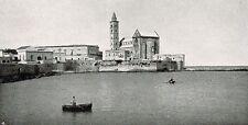 D1592 Trani - La Cattedrale dal mare - Stampa antica - 1926 old print