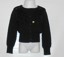 The Childrens Place Girls Long Sleeve Beaded Cardigan Sweater Black XS/4 NWT