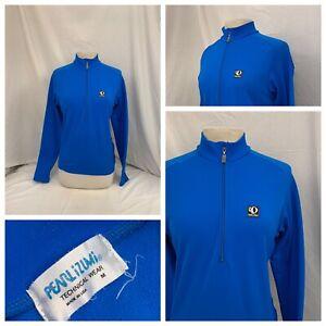 Pearl Izumi Cycling Jacket M Blue 1/2 Zip Long Sleeve 100% Poly EUC YGI V0-229