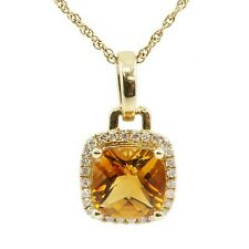14k Yellow Gold Checkerboard Faceted Cushion Citrine Diamond Pendant