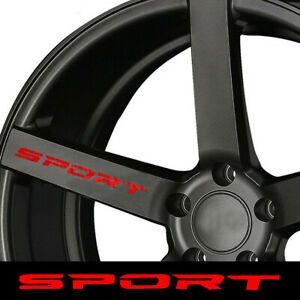 4x SPORT Style Car Sticker Body Rims Wheel Hub Racing Graphic Decal Accessories