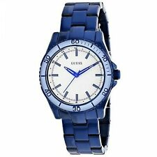 GUESS Women's U0557L3 Iconic Blue Watch With White Top Ring