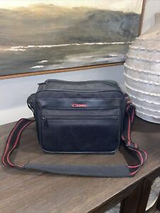 Vintage Black & Red Canon Shoulder Bag For Cameras And Videos Padded Retro