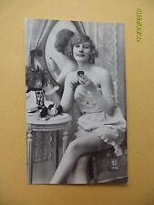 Orig French 1910's-1920's Semi-Nude Postcard Sexy Lady Mirror Art Deco #A3