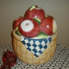 LARGE APPLES, APPLES, AND MORE APPLE FRUIT WEAVED BASKET COOKIE JAR CANISTER