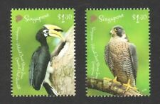 SINGAPORE 2019 POLAND JOINT ISSUE BIRDS HORNBILL & FALCON COMP. SET 2 STAMP MINT