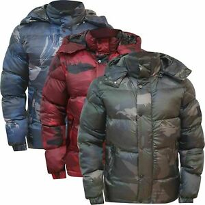 Mens Quilted Puffer Bubble Camouflage  Bomber Heavy Padded Jacket