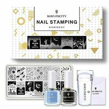 BORN PRETTY Nail Stamping Kit 2 Stamping Nail Polish Stamping Plate and Stamper