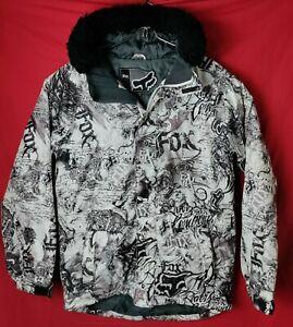 Fox Men M Fox Racing Black And White Logo Faux Fur Trim Hood Winter Jacket