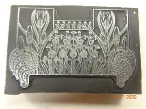 Printing Letterpress Printer Block Decorative Flowers Art Nouveau Print Cut