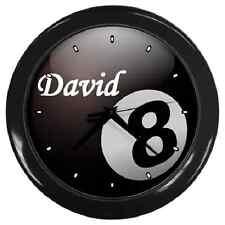 Reloj de pared Negro 8 Bola * Cualquier Nombre Personalizado * de piscina Billar ** ** Gran Regalo Artículo
