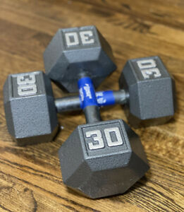 Cast Iron Hex Dumbbells Weights 5 10 15 20 25 30 35 40 45 50 60 LB Select-Weight