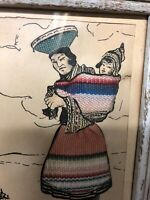 Vintage Drawing And Textile Art Woman And Child Peru South American 4.5x6""