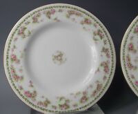 A Lanternier Limoges France Porcelain Dk Pink Rose Sprays Luncheon Plates Set 4
